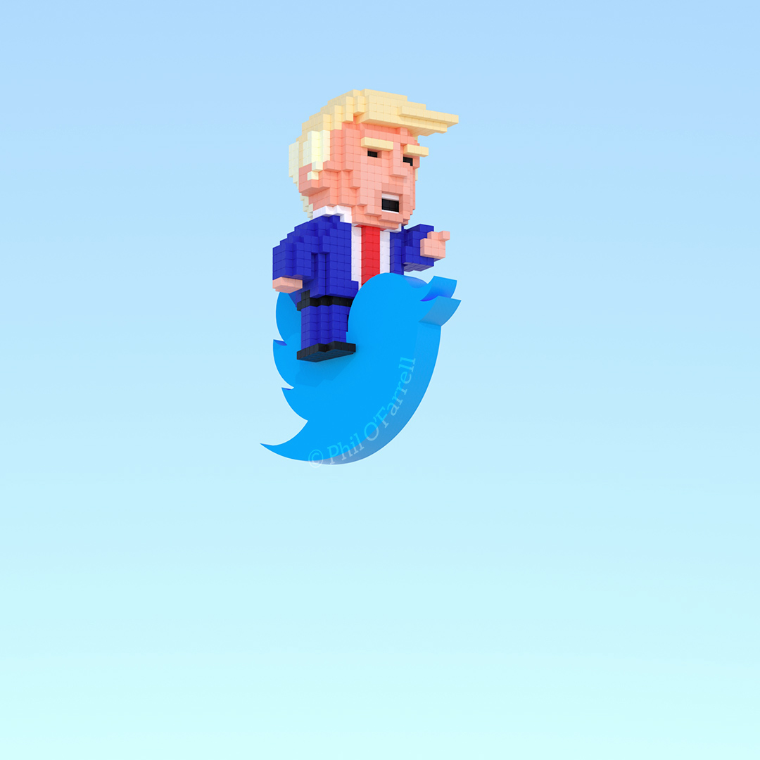 Donald Trump riding the Twitter Logo